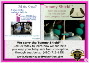 The Tummy Shield can protect both the mother and her baby during her pregnancy.