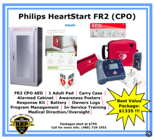 The Philips FR2 CPO AED is a great option for non-profits and groups that may have limited funds. All packages include 1-year warranty.