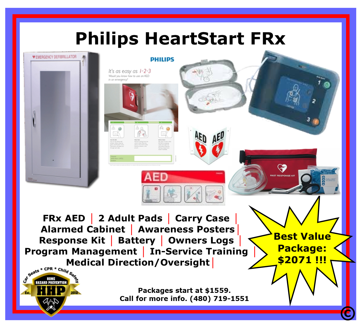 Philips HeartStart FRx AED $1559 From HHP 480-719-1551