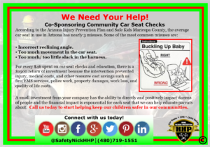 We need sponsors for car seat events
