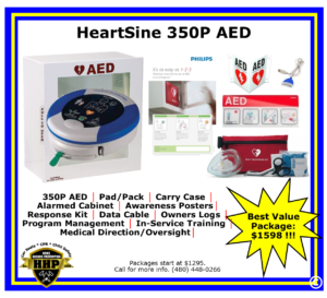 HeartSine 350P AED is operationally, technically, and financially the best AED on the market; with 2 button technology, audio & visual coaching.
